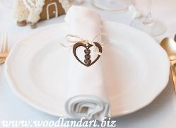 engraved wooden heart wedding reception party napkin accent gift