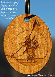Native American Dancer with eagle in background from Chris Terwilliger's original artwork laser engraved on wooden key chain.