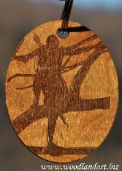Native American Bow hunter in a tree from Chris Terwilliger's original artwork laser engraved on wooden key chain