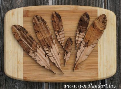 variety of sizes of wooden laser cut and engraved rough edged style eagle feathers