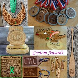 Custom designed awards medals medallions trophies plaques magnets keychains for races contests events