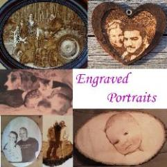 laser engraved portraits, photographs in wood, family, pets, dog, cat