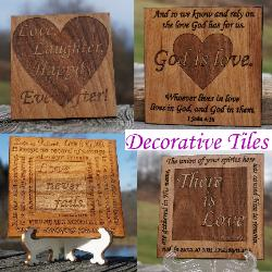 Decorative wooden tile, inspirational quotes, love, religion